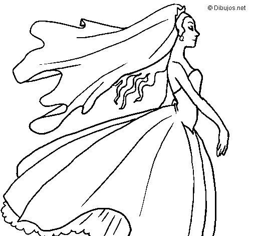 Dibujo de Novia hacia el altar para Colorear