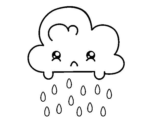 Dibujo de Nube Kawaii para Colorear