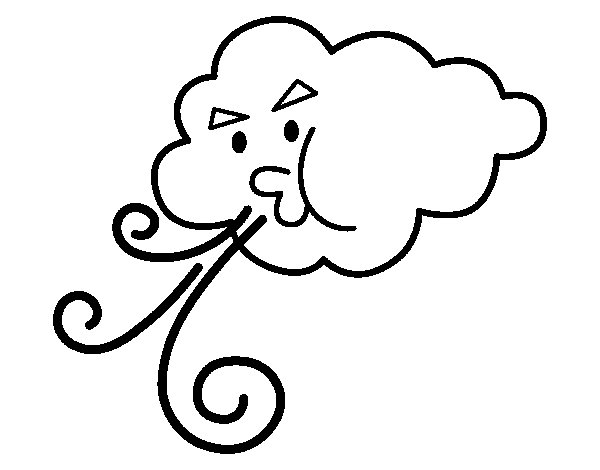 Dibujo de Nube soplando para Colorear