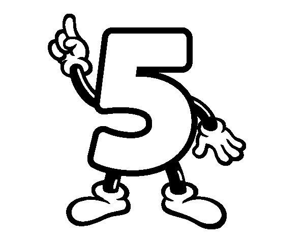 Dibujo de Número 5 para Colorear - Dibujos.net