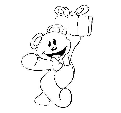 Dibujo de Osito con un regalo para Colorear