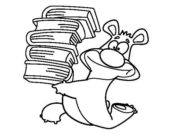 Dibujo de Oso con libros para Colorear