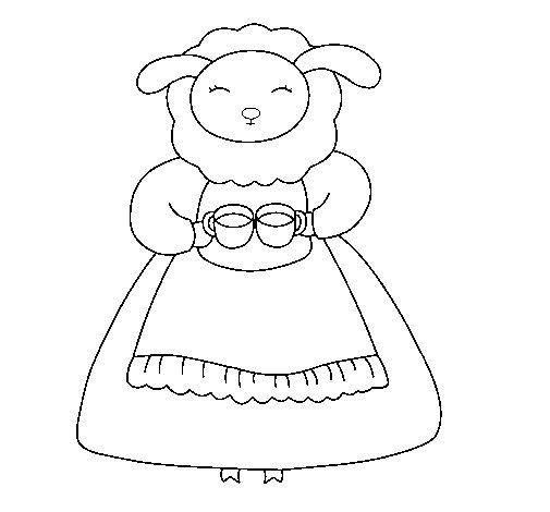 Dibujo de Oveja 3 para Colorear