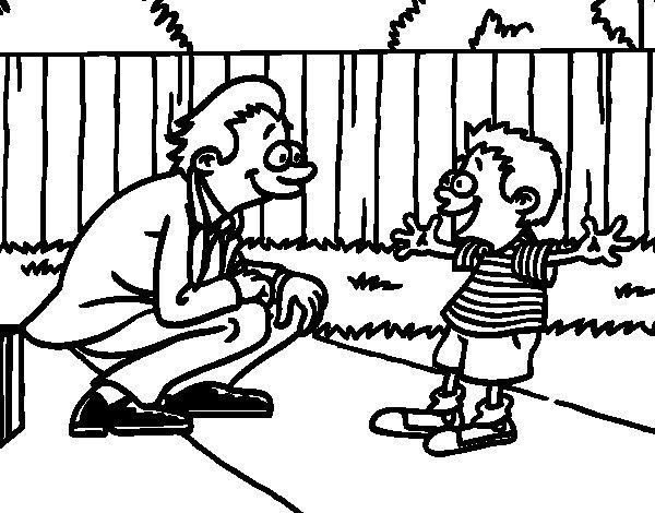 Dibujo de Padre con su hijo para Colorear