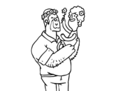 Dibujo de Padre e hija con flores para colorear