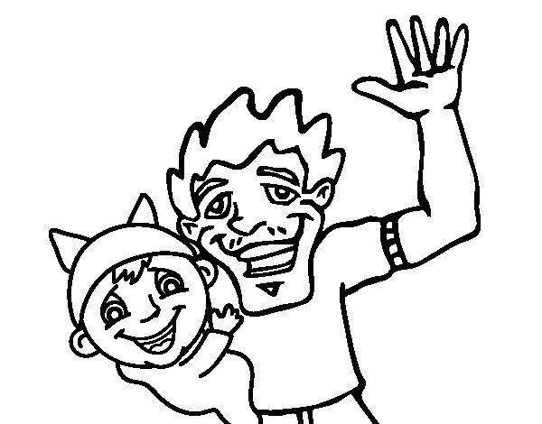 Dibujo de Padre e hijo saludando para Colorear