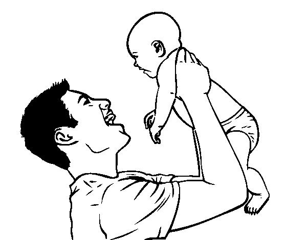 Dibujo de Padre y bebé para Colorear - Dibujos.net
