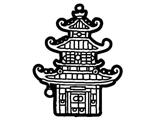 Dibujo de Pagoda china para Colorear