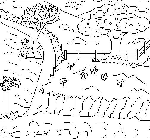 Dibujo de Paisaje rural para Colorear