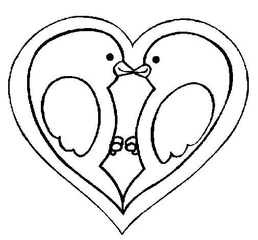 Dibujo de Pajaritos enamorados para Colorear