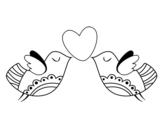 Dibujo de Pájaros con corazón para colorear
