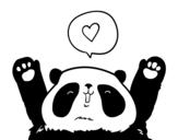 Dibujo de Panda enamorado para colorear
