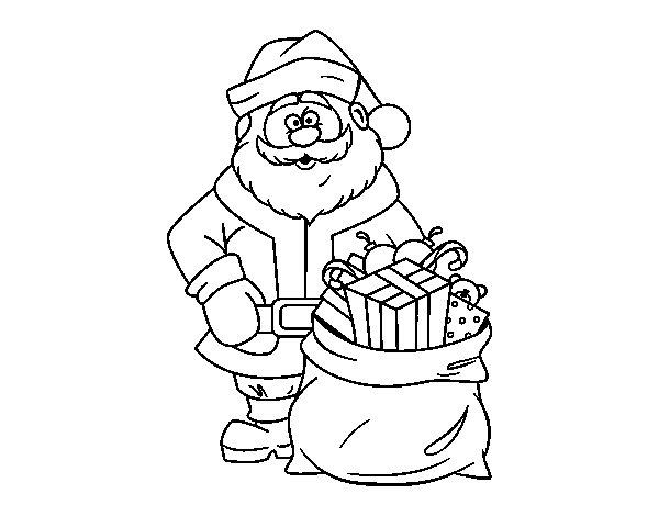 Papá Y Mamá Noel Dibujos Para Imprimir Y Colorear: Dibujo De Papá Noel Con Bolsa De Regalos Para Colorear