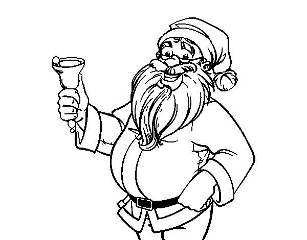 Dibujo de Papá Noel con campana para Colorear - Dibujos.net