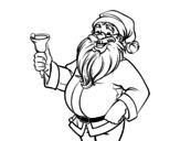 Dibujo de Papá Noel con campana para colorear