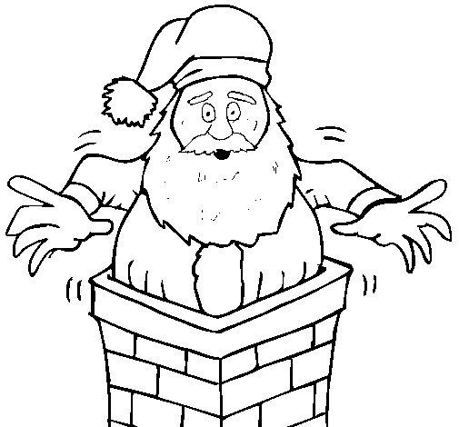 Dibujo de Papa Noel en la chimenea para Colorear