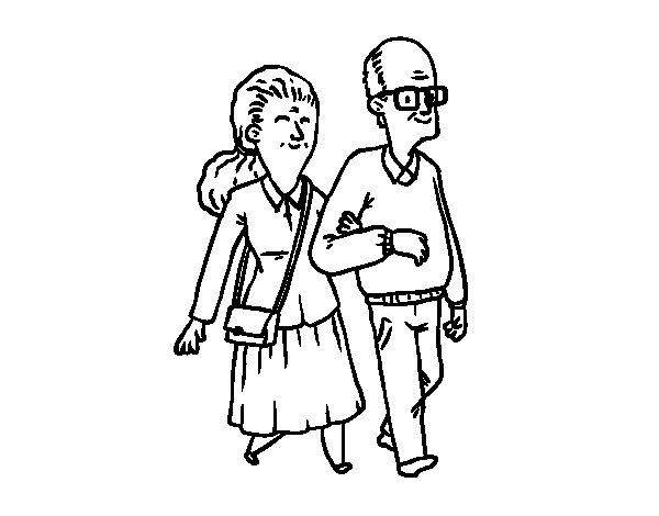 Dibujo de Pareja de abuelos para Colorear
