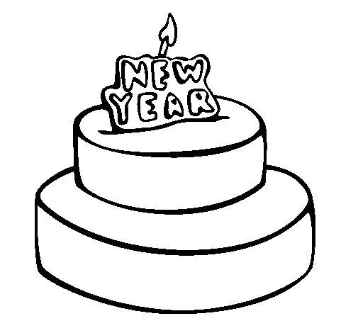 Dibujo de Pastel de año nuevo para Colorear
