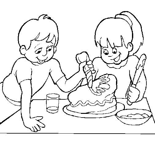 Dibujo de Pastel para mama para Colorear