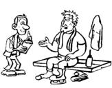 Dibujo de Patinador con periodista para colorear