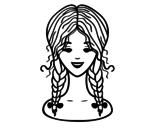 Dibujo de Peinado con dos trenzas para colorear