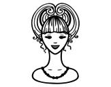 Dibujo de Peinado recogido  para colorear