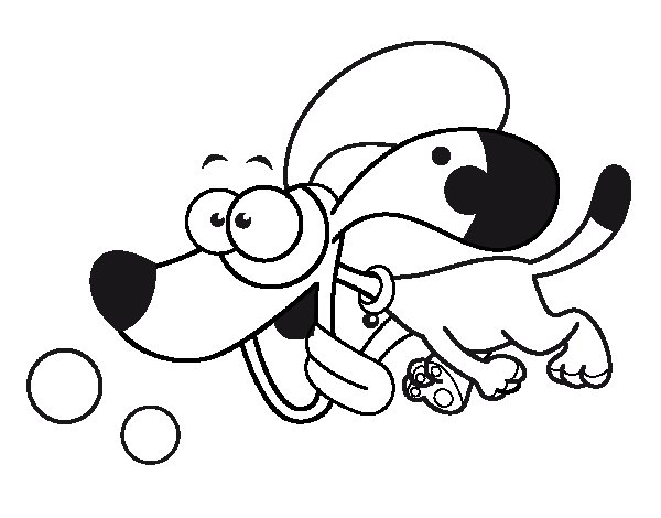 Dibujo de Perrito corriendo para Colorear