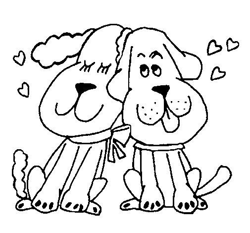 Dibujo de Perritos enamorados para Colorear