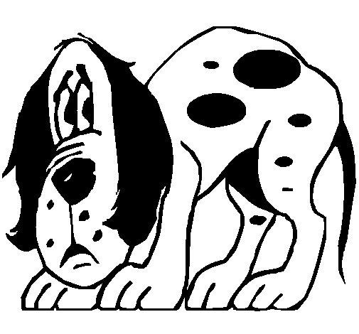 Dibujo de Perro asustado para Colorear