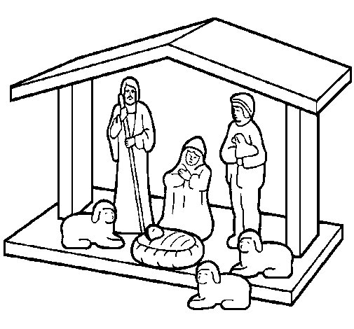 Dibujo de Pesebre de navidad 1 para Colorear