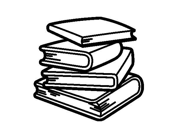 Dibujo de Pila de libros para Colorear - Dibujos.net