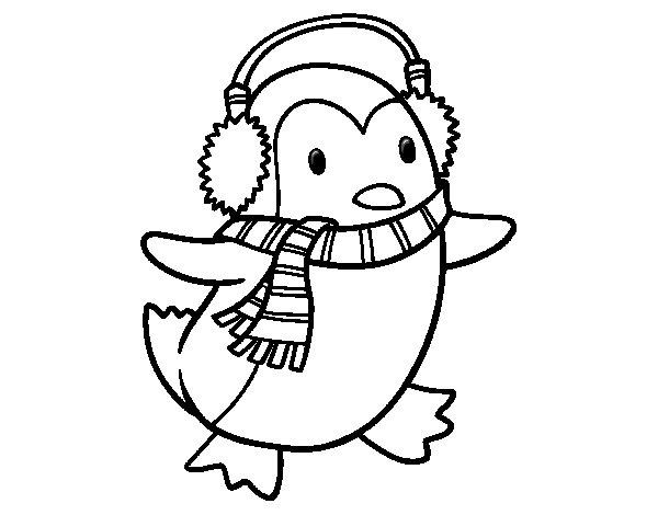 Dibujo de Pingüino con bufanda para Colorear