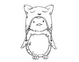 Dibujo de Pingüino con gorrito divertido para colorear