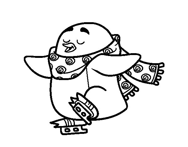 Dibujo de Pingüino patinando sobre hielo para Colorear