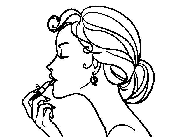 Dibujo de Pintar los labios para Colorear