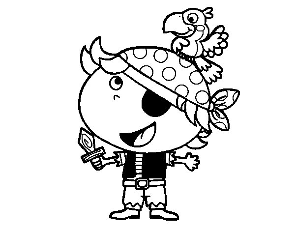 Dibujo de Pirata niño con loro para Colorear