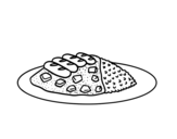 Dibujo de Plato combinado con arroz para colorear