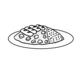 Dibujo de Plato combinado con arroz