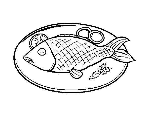 Dibujo de Plato de pescado para Colorear