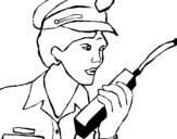 Dibujo de Policía con el walkie para colorear