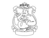 Dibujo de Policía con rosquilla