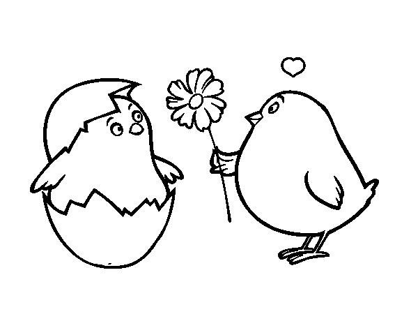 Dibujo de Pollitos enamorados para Colorear - Dibujos.net