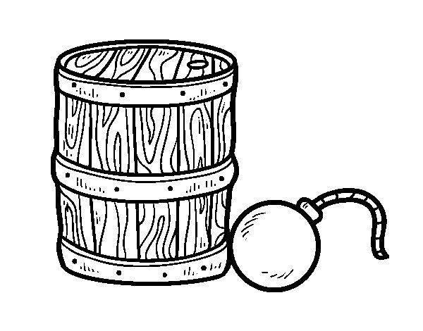 Dibujo de p lvora y bomba pirata para colorear for Jardin de la polvora