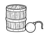 Dibujo de Pólvora y bomba pirata para colorear
