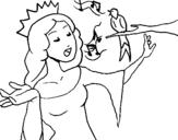 Dibujo de Princesa cantando para colorear