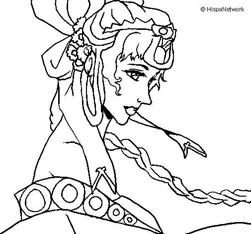 Dibujo de Princesa china para Colorear