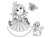 Dibujo de Princesa con gato y mariposa