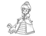 Dibujo de Princesa con perrito para colorear