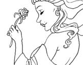 Dibujo de Princesa con una rosa