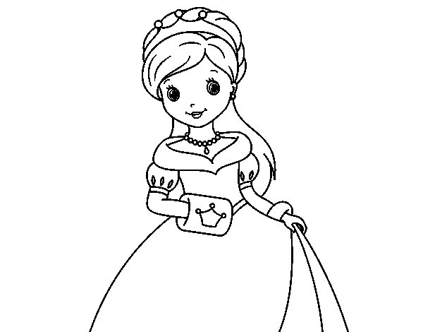 Dibujo de Princesa de gala para Colorear - Dibujos.net